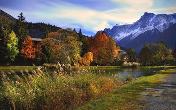 the sky, clouds, trees, river, mountains, nature, autumn