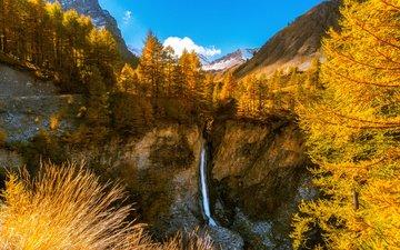 горы, природа, дерево, лес, водопад, осень, франция