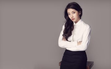 girl, brunette, music, skirt, singer, asian, blouse, bae suzy, miss a, bae su-ji