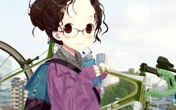 girl, glasses, anime, hair, bike