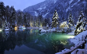 lake, mountains, tree, winter, landscape, switzerland, lake blausee, the lake. mountains