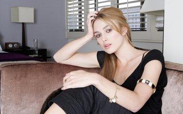 blonde, face, actress, black dress, photoshoot, keira knightley, celebrity, sitting
