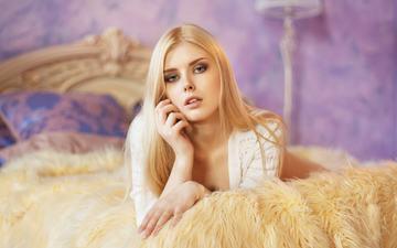 blonde, portrait, lying, maxim maximov, selena werner, in bed
