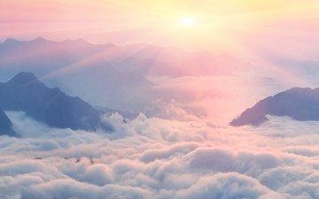 облака, горы, природа, пейзаж, рассвет, roman mikhailyuk, пейзаж.горы