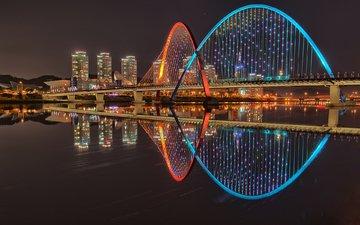 ночь, огни, вода, река, отражение, мост, город, небоскребы, дома, южная корея, тэджон