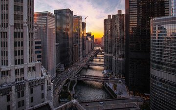 the city, skyscrapers, megapolis, home, usa, chicago