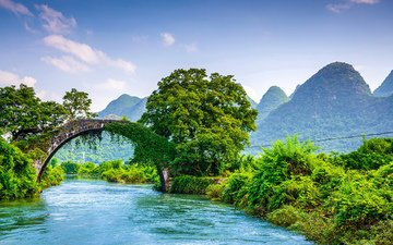 mountains, nature, landscape, bridge, china, yangshuo, guilin, guangxi
