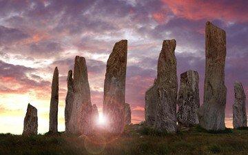 природа, камни, утро, рассвет, шотландия, калланиш