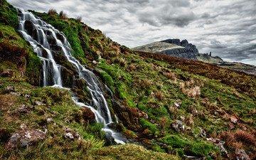 холмы, природа, водопады, ручьи