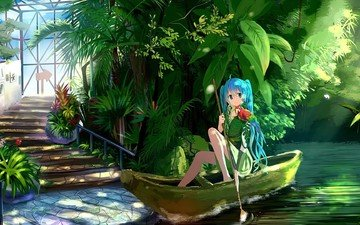 art, girl, background, look, anime, vocaloid