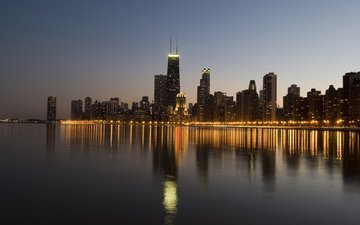 night, lights, the city, usa, il, chicago
