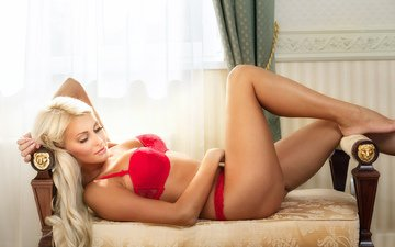 pose, blonde, red, linen
