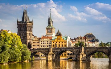 bridge, the city, europe, prague, charles bridge, czech republic
