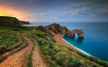 природа, берег, пейзаж, море, скала, побережье, англия, арка