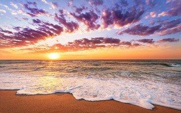 волны, закат, пейзаж, море, песок, пляж