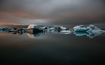 landscape, sea, ice, icebergs
