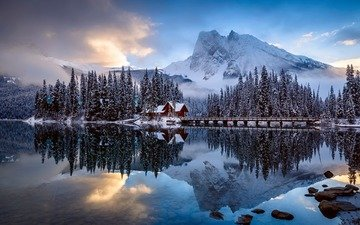 lake, mountains, nature, forest, winter, house