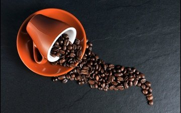 coffee, saucer, cup, coffee beans
