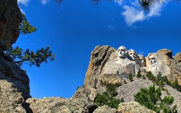 the sky, mountain, usa, face, south dakota, rushmore, mount rushmore, presidents