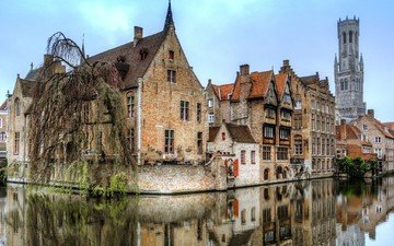 reflection, the city, channel, home, belgium, bruges