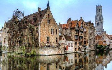 отражение, город, канал, дома, бельгия, брюгге