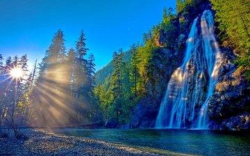 деревья, горы, солнце, лучи, водопад