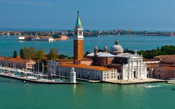 город, венеция, италия, остров, сан-джорджо-маджоре