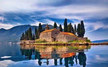 небо, облака, деревья, горы, море, замок, город, осень, церковь, архитектура, остров, черногория, пераст