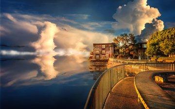 облака, вечер, закат, город, дома, океан, набережная, сша, здания, калифорния, саусалито