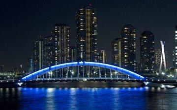 вечер, мост, город, япония, небоскребы, подсветка
