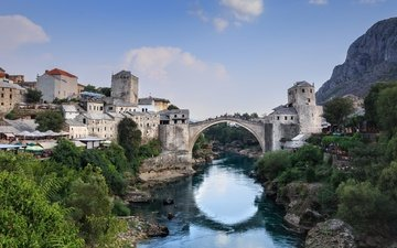 the sky, river, bridge, the city, architecture, the balkans, kristiina aksberg, mostar, bosnia and herzegovina