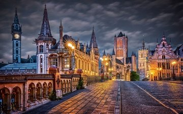 ночь, огни, город, здания, мостовая, бельгия, гент