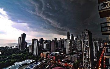 город, сша, циклон, пасмурно, чикаго, линкольн-парк