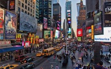 люди, город, нью-йорк, машины, таймс-сквер, тилт шифт