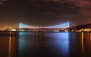 ночь, мост, город, турция, стамбул, босфорский мост