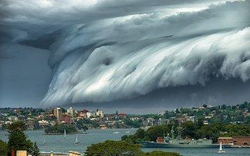 облака, город, австралия, циклон, брисбен