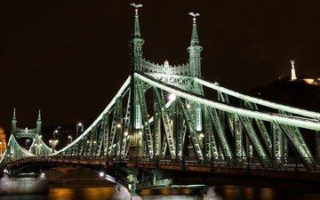 дорога, ночь, вода, мост, город, архитектура, здание, венгрия, будапешт, дунай, мост свободы