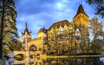 water, reflection, castle, the city, hungary, budapest, vajdahunyad castle