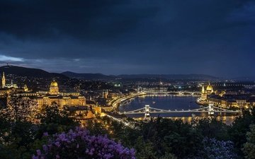 night, lights, river, panorama, bridge, the city, hungary, budapest
