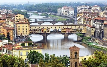 trees, river, the city, italy, florence, bridges