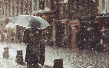 снег, девушка, настроение, город, дождь, зонт, пальто