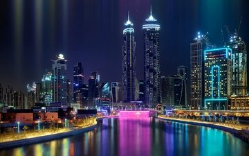 night, lights, the city, dubai, uae