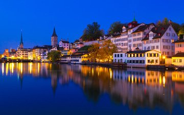 night, lights, the city, switzerland, europe, zurich
