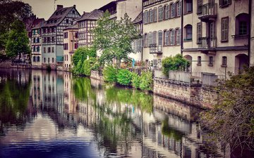 river, the city, europe, france, strasbourg
