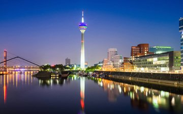 night, lights, the city, germany, dusseldorf