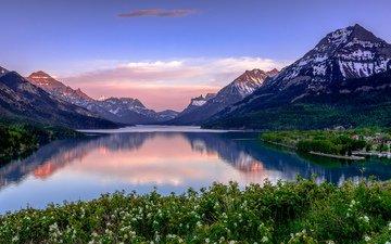 озеро, горы, канада, национальный парк, уотертон-лейкс