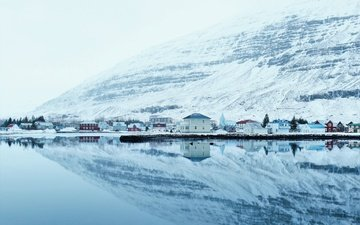 water, lake, snow, nature, winter, mountain, houses, ice, town, arctic