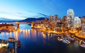 lights, the evening, river, mountains, yachts, bridge, bay, home, vancouver, canada, boats, piers