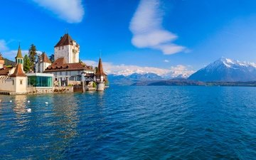lake, mountains, castle, switzerland, alps, oberhofen castle, lake thun, oberhofen am thunersee