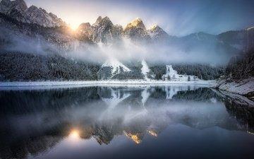 озеро, горы, отражение, австрия, альпы, gosauseen, озеро гозаузее